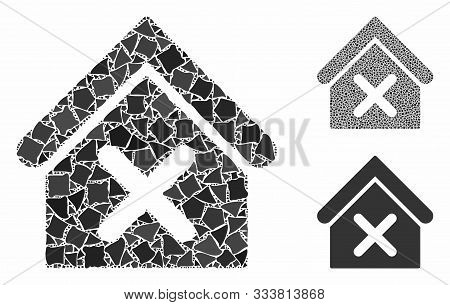 Wrong House Mosaic Of Humpy Pieces In Different Sizes And Color Tints, Based On Wrong House Icon. Ve