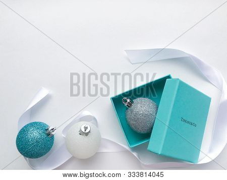 Moscow, Russia, August 2019: Close Up Of Original Box From The Jewelry Brand Tiffany And Co. With A