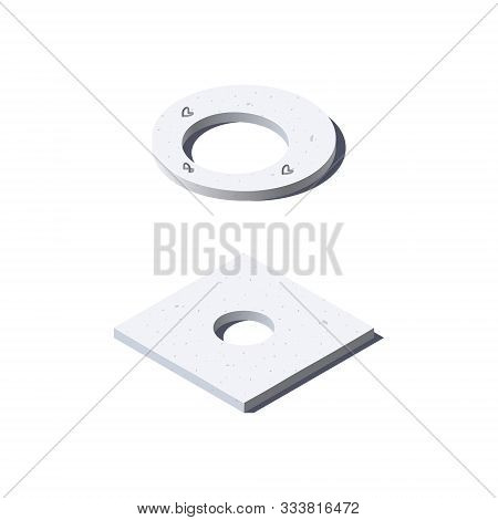 Concrete Slab Icon In Flat Style, Vector