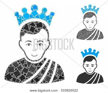 Emperor Composition Of Rough Parts In Different Sizes And Color Hues, Based On Emperor Icon. Vector