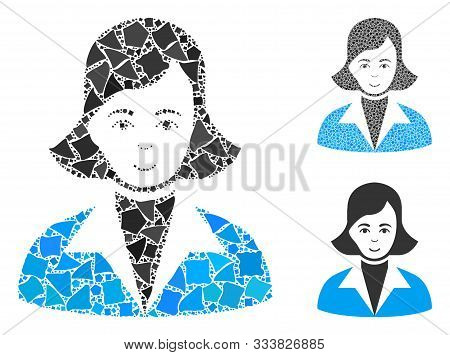 Lady Mosaic Of Unequal Items In Variable Sizes And Color Tints, Based On Lady Icon. Vector Unequal P