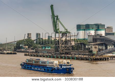 Long Tau River, Vietnam - March 12, 2019: Phuoc Khanh Area. Cong Thanh Group Cement Factory With Its