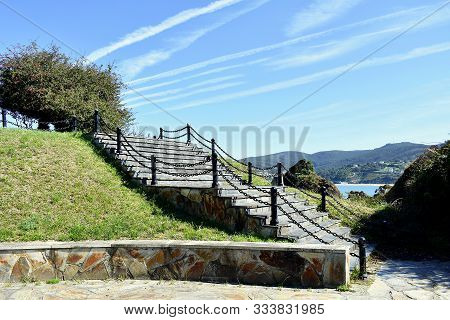 Lookout Of Os Castelos Rocks In Seiramar Beach, Between Covas A Sacido Beach, In Viveiro, Lugo, Gali