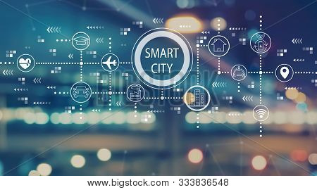 Smart City Concept With Blurred City Abstract Lights Background