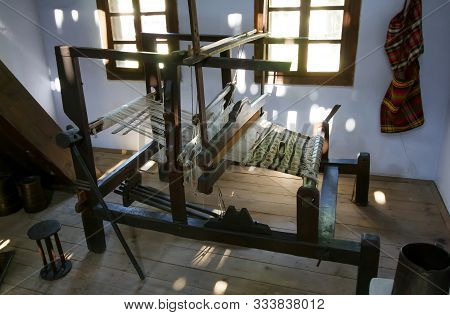 Bucharest, Romania - August 09, 2018: Loom In The Household From The Village Of Sant, Bistrita-nasau