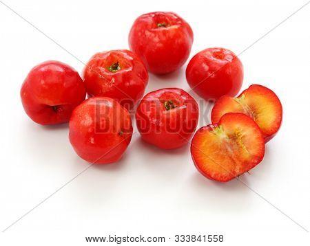 acerola fruit, barbados cherry isolated on white background