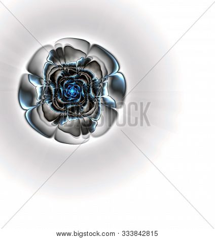 Abstract Fractal Computer-generated Image Of Translucent Pale Blue Crystal Flower, Blue Translucent
