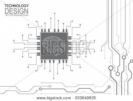 Technological Brain. Abstract Circuit Board. Vector Background, Digital Human Brain With Computer Ci