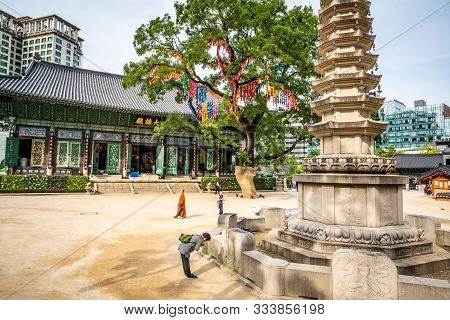 Seoul Korea , 25 September 2019 : Jogyesa Temple View With The Daeungjeon Hall The Pagoda Tree And P