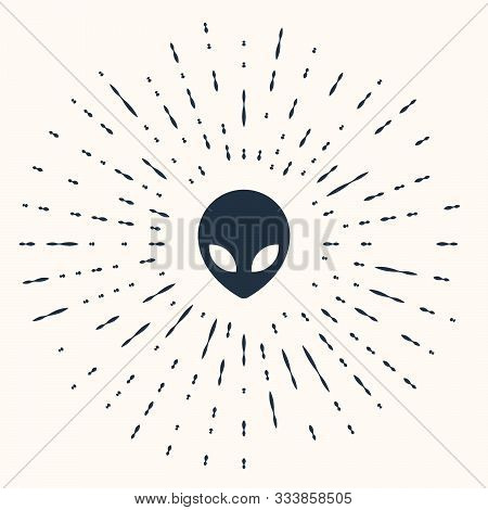 Grey Alien Icon Isolated On Beige Background. Extraterrestrial Alien Face Or Head Symbol. Abstract C