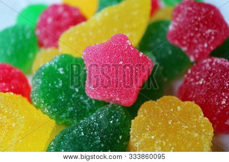 Closeup Star Shaped Fruity Flavor Sugar Coated Jelly Soft Candy On Candies Pile