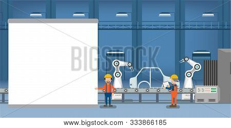 Empty Screen In Automobile Factory With Robot Assembly Line And Engineers Flat Design Vector Illustr