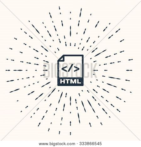 Grey Html File Document. Download Html Button Icon Isolated On Beige Background. Html File Symbol. M