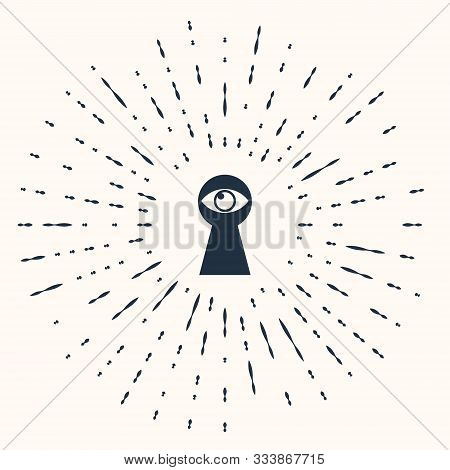 Grey Keyhole With Eye Icon Isolated On Beige Background. The Eye Looks Into The Keyhole. Keyhole Eye