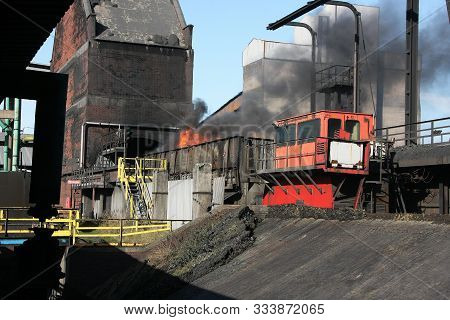 Coke Oven Plant On Large Integrated Steelworks With Dirt, Smoke And Emissions.