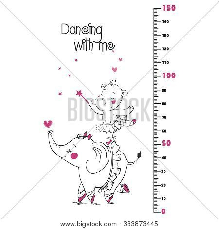 Kids Height Ruler With A Cars For Wall Decals, Wall Stickers - Vector