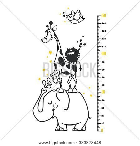 Kids Height Ruler With A Elephant, A Hippo, A Giraffe, A Cat For Wall Decals, Wall Stickers - Vector