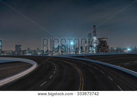 Asphalt Road And Urban Building Of Shanghai, Driveway And Road.