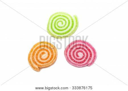 Gelatin Bright Jellies Candy Colorful Gelatin Sweets, Gummy Sugary Tasty. Soft Gums Viewed From Abov