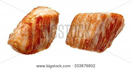 Pieces (in The Form Of Dice) Of Cooked Turkey (chicken) (grilled). Isolated On White Background.