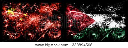 China, Chinese Vs Jordan, Jordanian New Year Celebration Travel Sparkling Fireworks Flags Concept Ba
