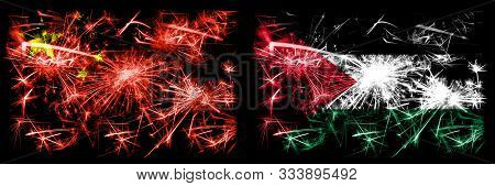 China, Chinese Vs Palestine, Palestinian New Year Celebration Travel Sparkling Fireworks Flags Conce