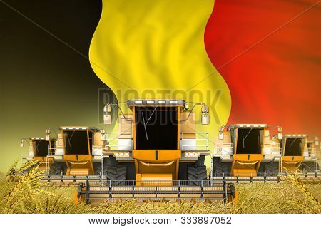 Industrial 3d Illustration Of Many Yellow Farming Combine Harvesters On Wheat Field With Belgium Fla