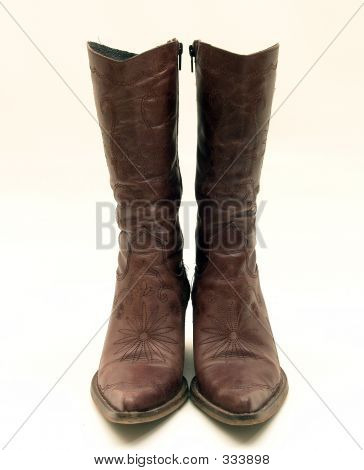 Brown Leather Cowboy Boots Isolated