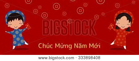 Hand Drawn Vector Illustration For Tet With Cute Children, Boy And Girl, In Ao Dai, Holding Red Enve