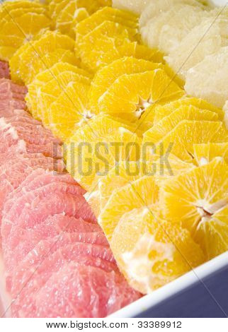 buffett platter fresh fruit oranges grapefruit ruby red as photographed in Jerusalem Israel Palestine poster