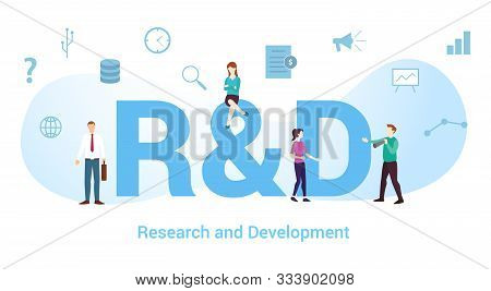 R&d Research And Development Concept With Big Word Or Text And Team People With Modern Flat Style -