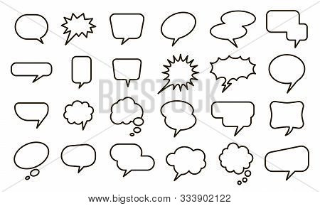 Speech Empty Balloon. Bubble Sticker, Conversation Sketch Balloons And Comic Text Elements Vector Is