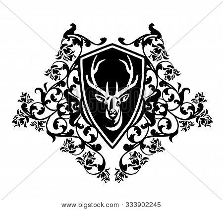 Antler Deer Head In Heraldic Shield Among Rose Flowers - Vintage Style Buck Portrait Coat Of Arms Bl