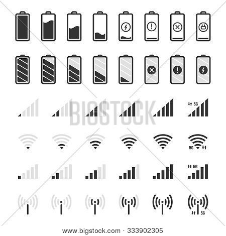 Battery And Connection Icons. Smartphone Charge Level, Wifi And Gsm Signal Strength, Battery Energy