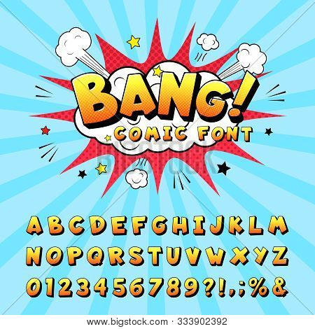 Comic Book Alphabet. Retro Cartoon Comic Book Graphic Font Elements, Alphabet Letters And Numbers Sy