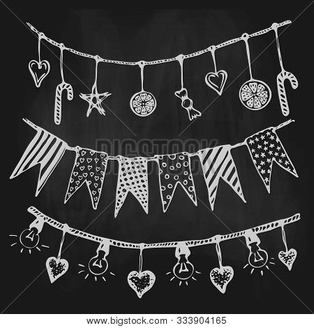 Vector Garlands With Flags, Stars, Candies And Light Bulbs On Blackboard. Illustration Of Chalk Draw