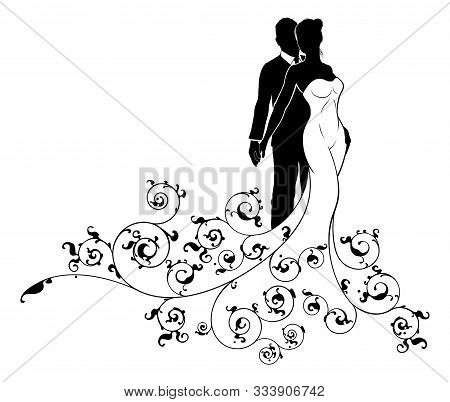 A Bride And Groom Wedding Couple In Silhouette, The Bride In A White Bridal Dress Gown And Floral Ab