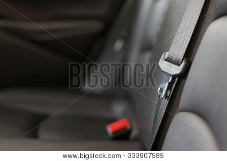 Safety Belt Inside The Car. Seat Belts Are Life Saving Devices From Accidents.