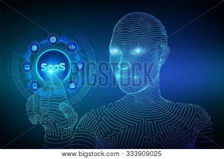 Saas. Software As A Service. Internet And Technology Concept On Virtual Screen. Saas Computing Iot I