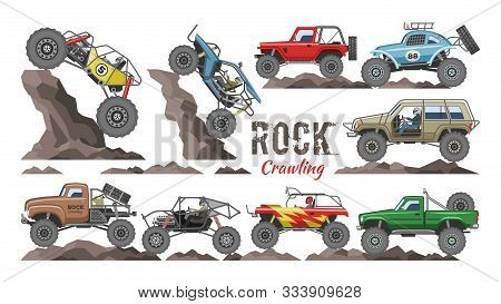 Monster Truck Vector Cartoon Rock Vehicle Crawling In Rocks And Extreme Transport Rocky Car Illustra
