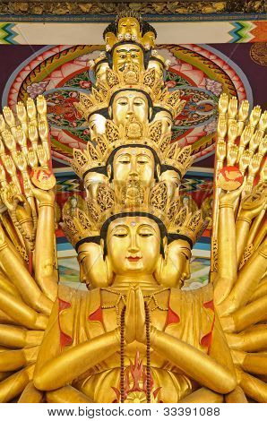Thousand-hand Guan Yin statue at Bangkok Thailand poster