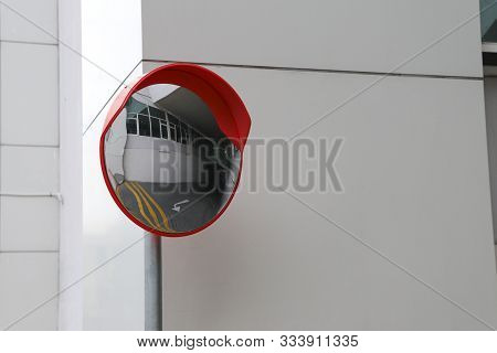 Convex Mirror For Drivers To See The Visibility A Wide Angle.