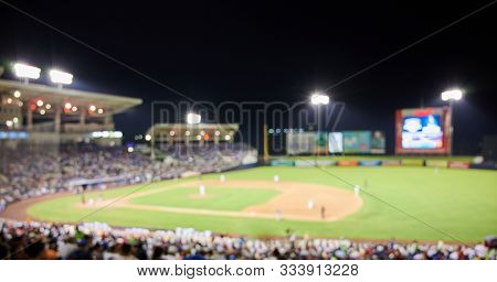 Baseball Game Theme. Blurred Panoramic View On Baseball Game