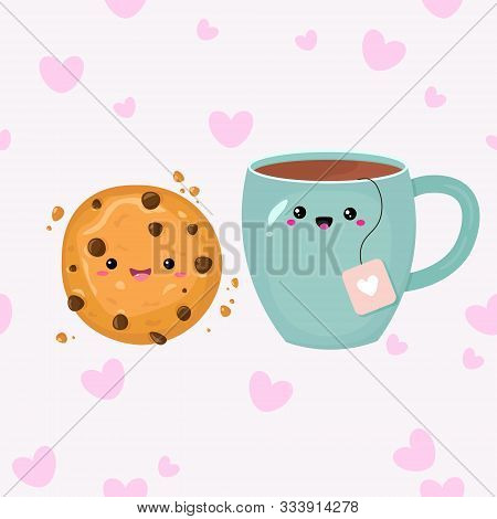 Vector Graphics. Adorable, Cute Illustration Of Tea Cup And Cookie. Flat Cartoon Illustration. Kawai