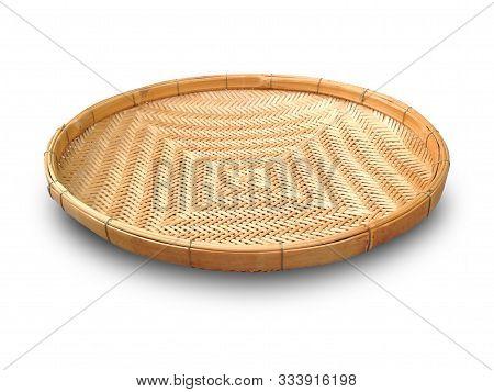 Threshing Basket Isolated On White Background. Threshing Basket Made From Bamboo Strip. Threshing Ba