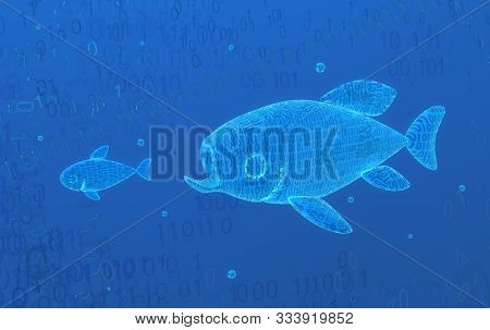Virtual Blue Glowing Fish Pursuit Hunt In Code Habitat 3d Illustration, Horizontal