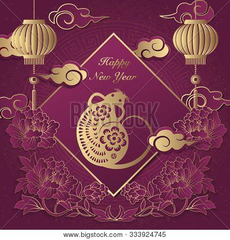 2020 Happy Chinese New Year Of Retro Elegant Relief Peony Flower Lantern Rat Cloud Ingot And Spring