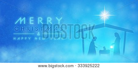 Christmas Time. Manger With Baby Jesus, Mary, Joseph And Star Of Bethlehem. Text : Merry Christmas &