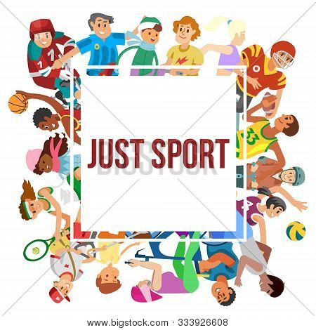Sport Cartoon People Vector Frame. Illustration Of People Or Kids Playing Football, Volleyball, Bask