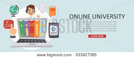 Education Online University Or Training Courses Distance Vector Illustration. Internet Studying, Onl